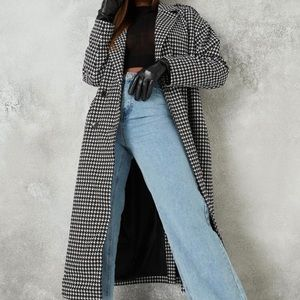 Oversized Houndstooth Trench coat
